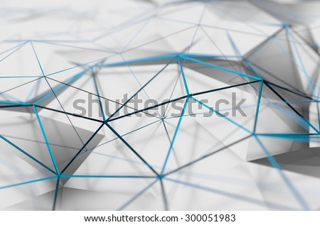 Abstract 3d rendering of white surface. Background with futuristic low poly shape. - stock photo