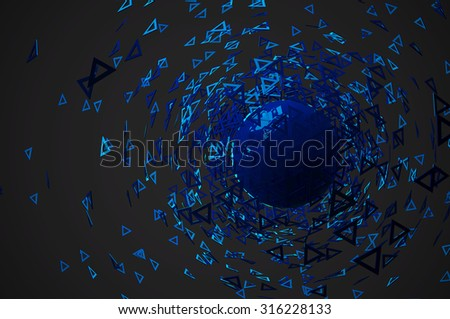Abstract 3d rendering on black background - stock photo