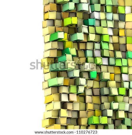 abstract 3d shape backdrop in green yellow - stock photo