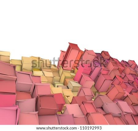 abstract 3d shape backdrop in pink orange - stock photo