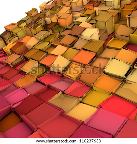 abstract 3d shape backdrop in pink yellow orange - stock photo