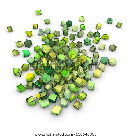 abstract 3d shape in green yellow on white - stock photo