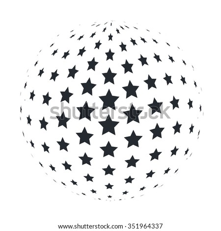 Abstract 3D Sphere with 5 point Stars. illustration. - stock photo