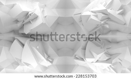 Abstract 3d white background, chaotic polygonal structure on the wall in empty interior - stock photo