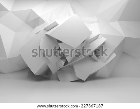 Abstract 3d white background with chaotic polygonal structure on the wall in empty interior - stock photo