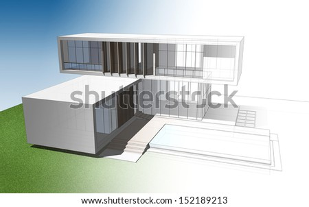 Abstract 3D wireframe of house in transformation image style - stock photo