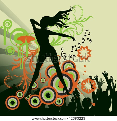 abstract dance party poster - stock photo