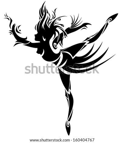 Abstract dancing girl - stock photo