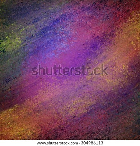 abstract dark background with messy grunge textured paint in purple pink orange green blue yellow gray and gold - stock photo