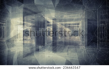 Abstract dark blue digital interior 3d background with perspective wire-frame view of dark corridor - stock photo