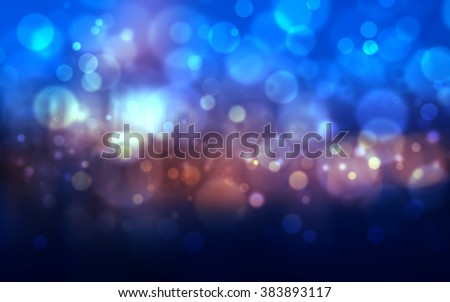 Abstract dark blue festive background with bokeh defocused lights - stock photo