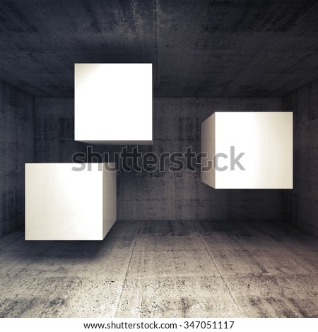 Abstract dark concrete interior with three white flying cubes as a banners place, 3d illustration background - stock photo