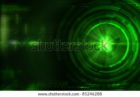 Abstract dark green technical background - stock photo