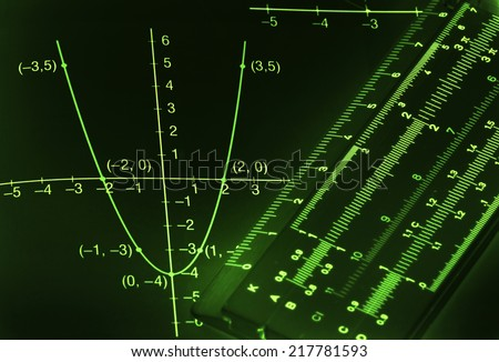 Abstract dark mathematical background with light green figures and graphs - stock photo