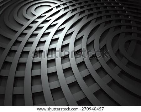 Abstract Dark Metallic Round Circles Design Background. 3d Render Illustration - stock photo