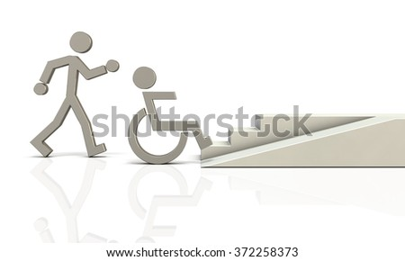Abstract 3DCG representing the coexistence of healthy people and people with disabilities - stock photo