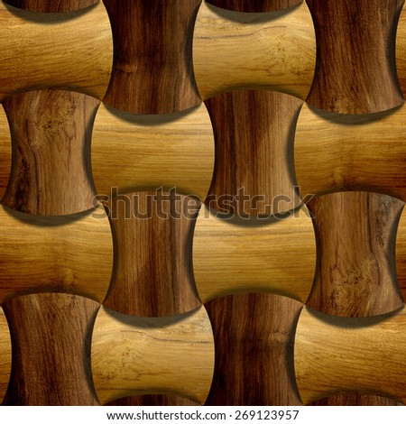 Abstract decorative blocks - decorative tiles - 3D wallpaper - Interior wall panel pattern - decorative panels - alternating pattern - seamless background - different colors - wood texture - stock photo