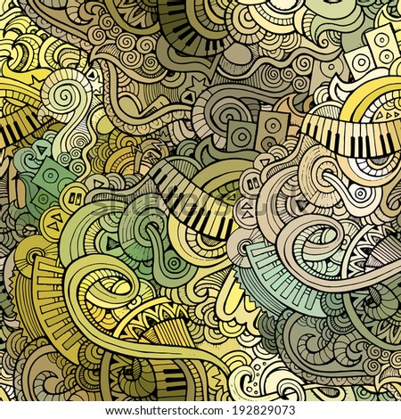 Abstract decorative doodles music seamless pattern background - stock photo
