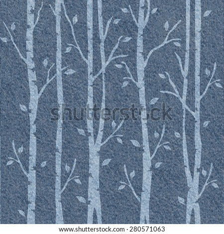 Abstract decorative trees - seamless pattern - blue jeans cloth - stock photo