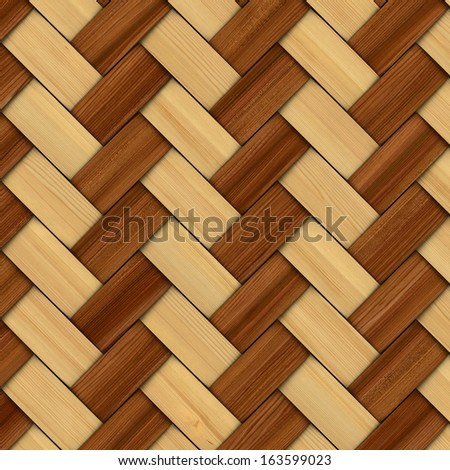 Abstract decorative wooden textured basket weaving. 3D image - stock photo