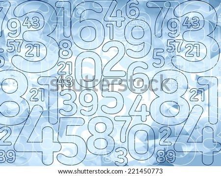 abstract delicate blue numbers background illustration  - stock photo