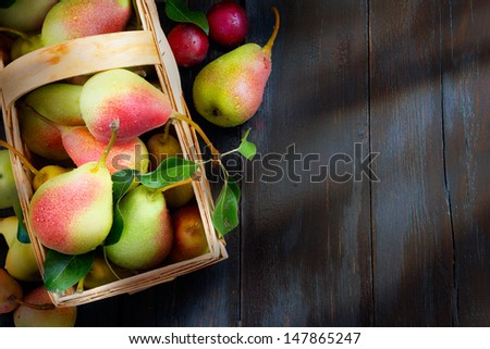 abstract design background  fruits on a wooden background - stock photo
