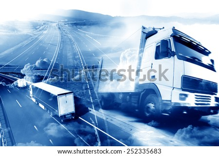 Abstract design background Trucks and transport.Highway and delivering  - stock photo
