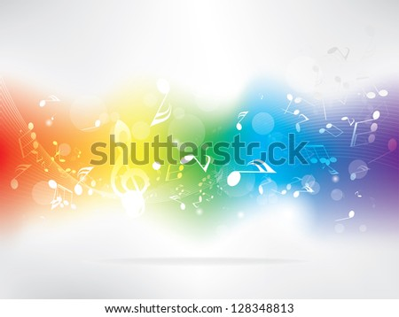 Abstract design background with colorful music notes - stock photo