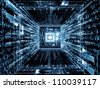 Abstract design made of computer chip, numeric and abstract elements on the subject of computers,  math and information technology - stock photo