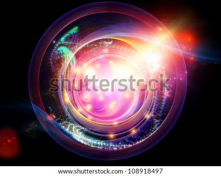 Abstract design made of lights, curves and fractal elements on the subject of technology, science and entertainment - stock photo