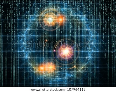 Abstract design made of numbers and design elements on the subject of computers, science, math and modern technology - stock photo