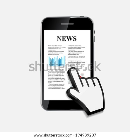 Abstract Design Mobile Phone with News Concept.  Illustration - stock photo
