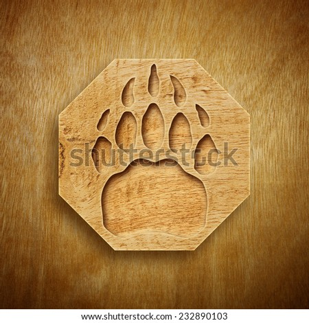 Abstract design of Bear's Paw with Wood texture. - stock photo