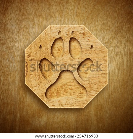 Abstract design of footprints with Wood texture.  - stock photo