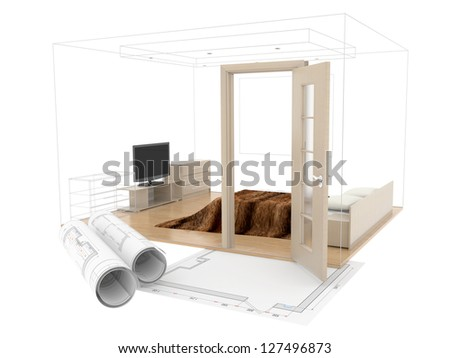 abstract design sketch of room  interior. 3D plan drawing. 3d image - stock photo
