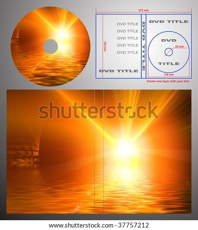 Abstract design template for dvd label and box-cover. Based on rendering of 3d fractal graphics. For using create new layer with your text. - stock photo