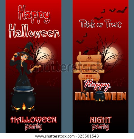 Abstract design web banner, header; Set of banners with a graveyard scene in the moonlight, cartoon witch girl, wooden sign, Halloween three dimensions text, magic hat and witch cauldron on fire - stock photo