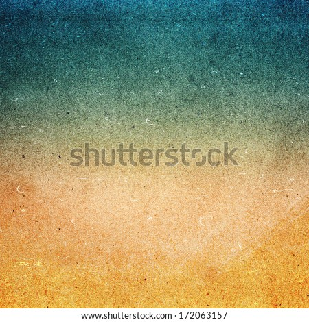 Abstract Designed grunge paper texture. Summer beach recycled paper textured background with film grain. Highly detailed frame. - stock photo