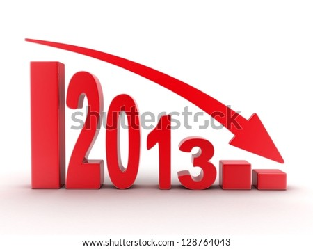 Abstract diagram 2012 red (done in 3d) - stock photo