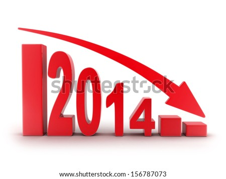 Abstract diagram 2014 red (done in 3d)  - stock photo