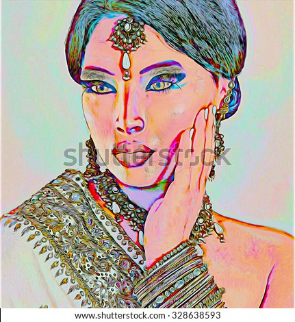 Abstract digital art of Indian or Asian woman's face, close up with jewels. An oil paint effect and glowing lights are added for a more modern art look and feel to this beauty and fashion scene. - stock photo
