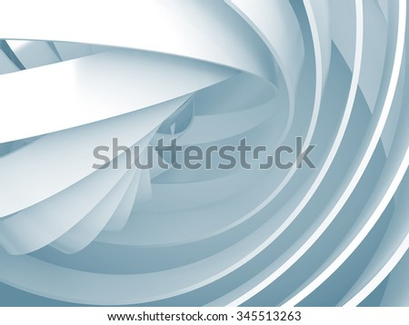 Abstract digital background with light blue soft illuminated 3d spiral structures - stock photo