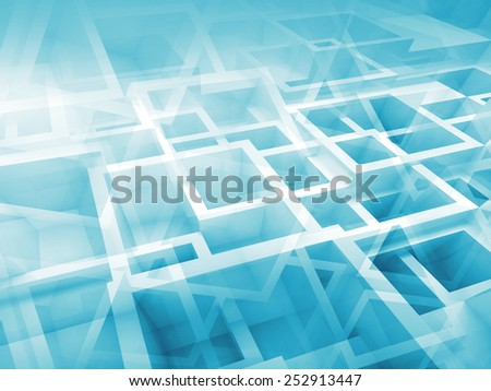 Abstract digital 3d background with chaotic cubes pattern - stock photo