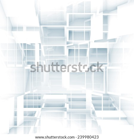 Abstract digital 3d square background texture with chaotic white cubes pattern - stock photo