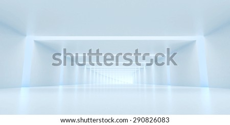 Abstract digital 3d white and light blue with empty illuminated white shining bent corridor interior - stock photo