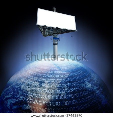 abstract digital earth and billboard - stock photo