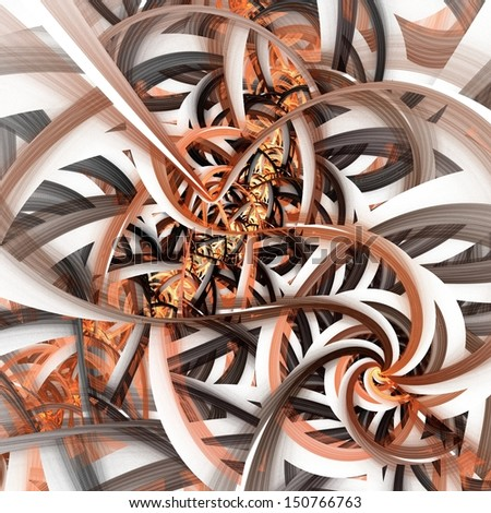 Abstract digital fractal art on the white background - stock photo
