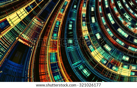 Abstract digital futuristic dark geometric background. Cover design template layout for corporate business card, book, booklet, brochure, flyer, poster, banner. Fractal artwork for creative design. - stock photo