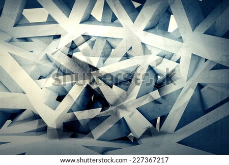 Abstract digital generated chaotic structure 3d background with stripes and triangles - stock photo