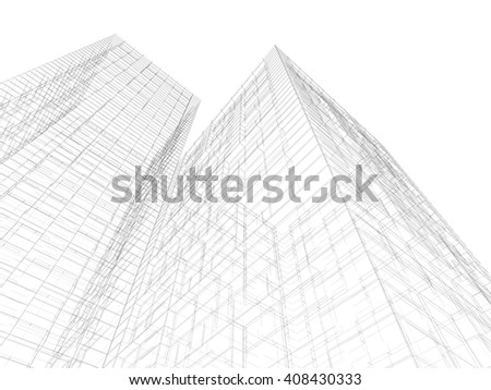 Abstract digital graphic background. Modern buildings, black wire frame lines isolated on white background. 3d render illustration - stock photo